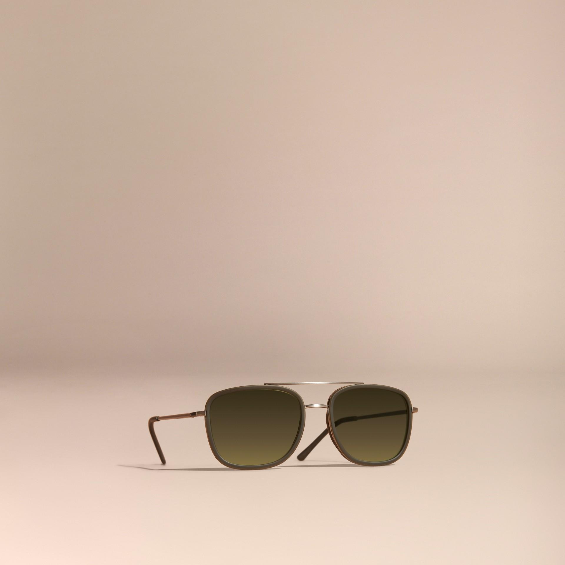 Grigio Occhiali da sole con montatura squadrata in acetato e pelle Grigio - immagine della galleria 1