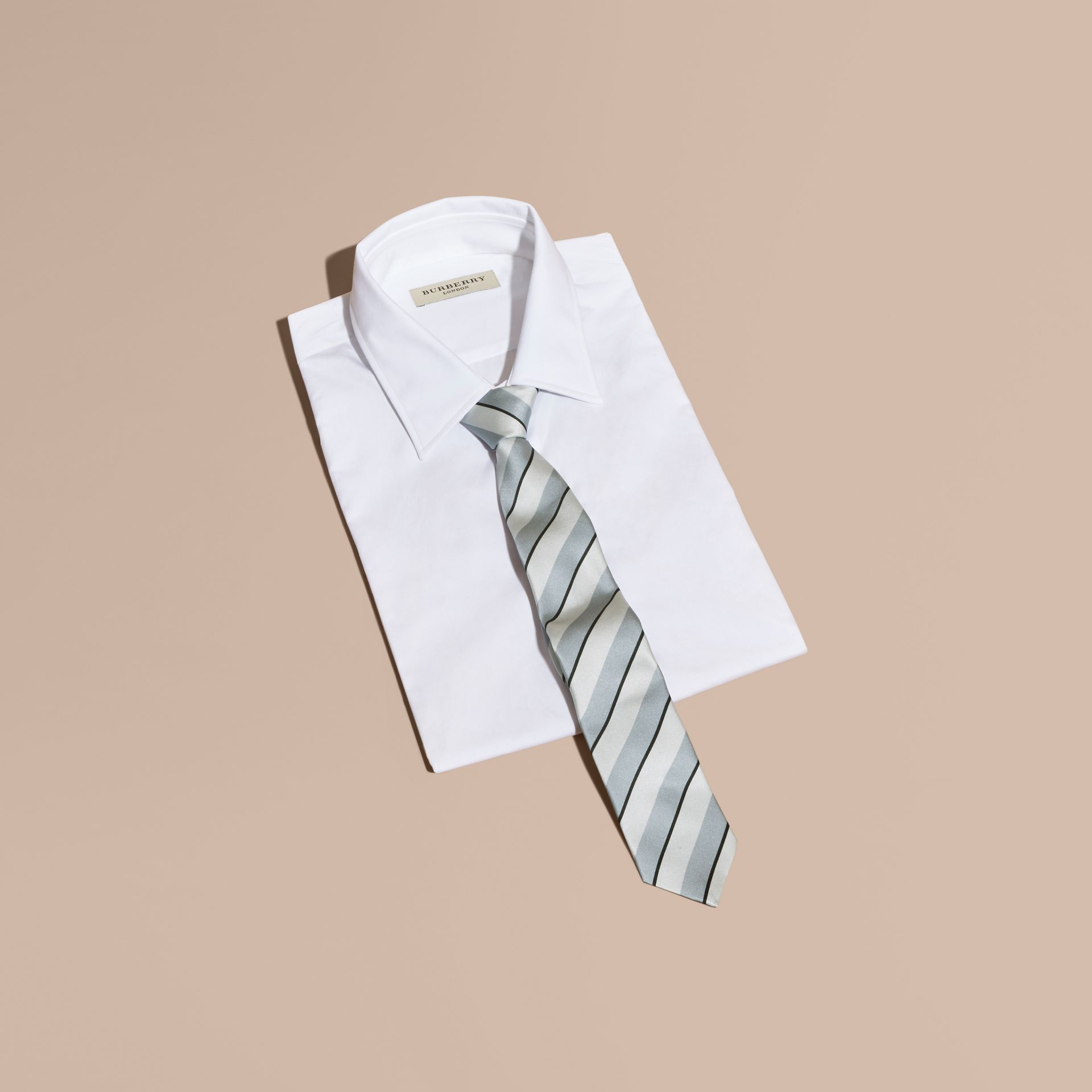 Light blue Slim Cut Striped Silk Cotton Tie Light Blue - gallery image 3