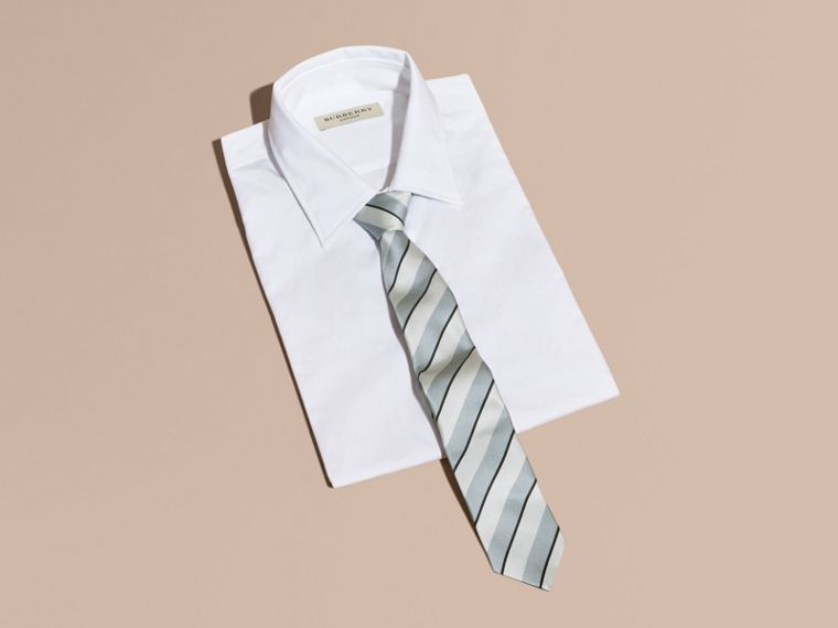 Light blue Slim Cut Striped Silk Cotton Tie Light Blue - cell image 2