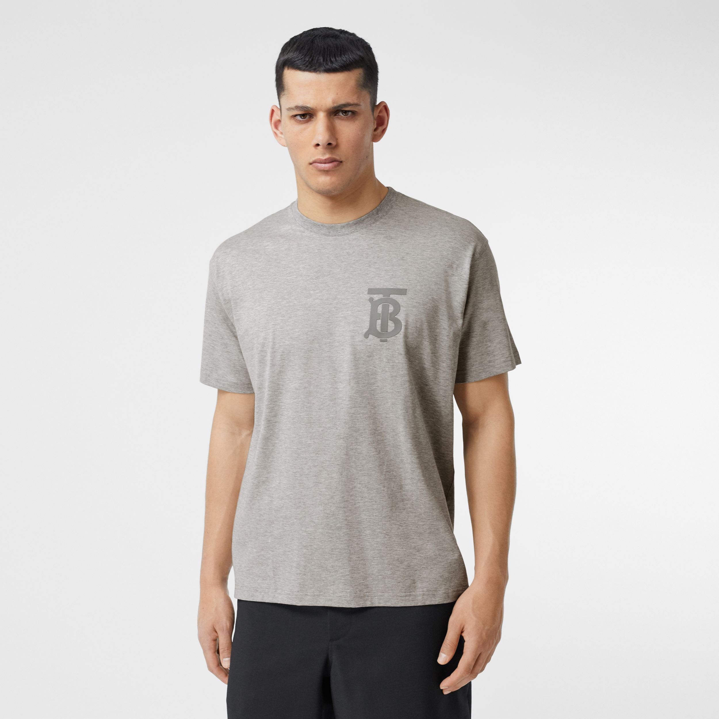 Monogram Motif Cotton Oversized T-shirt in Pale Grey Melange - Men | Burberry Hong Kong S.A.R. - 1