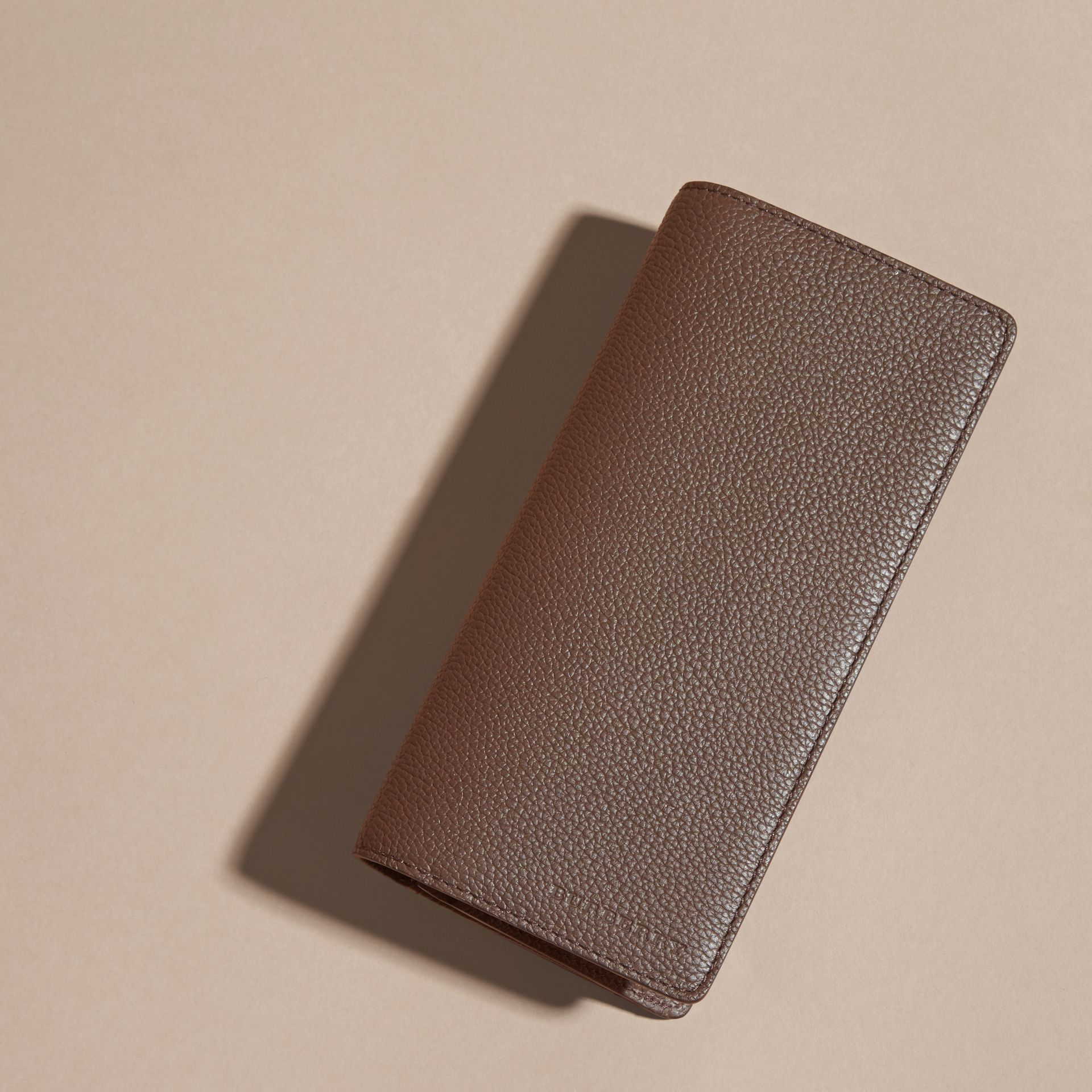 Deep taupe brown Grainy Leather Continental Wallet Deep Taupe Brown - gallery image 3