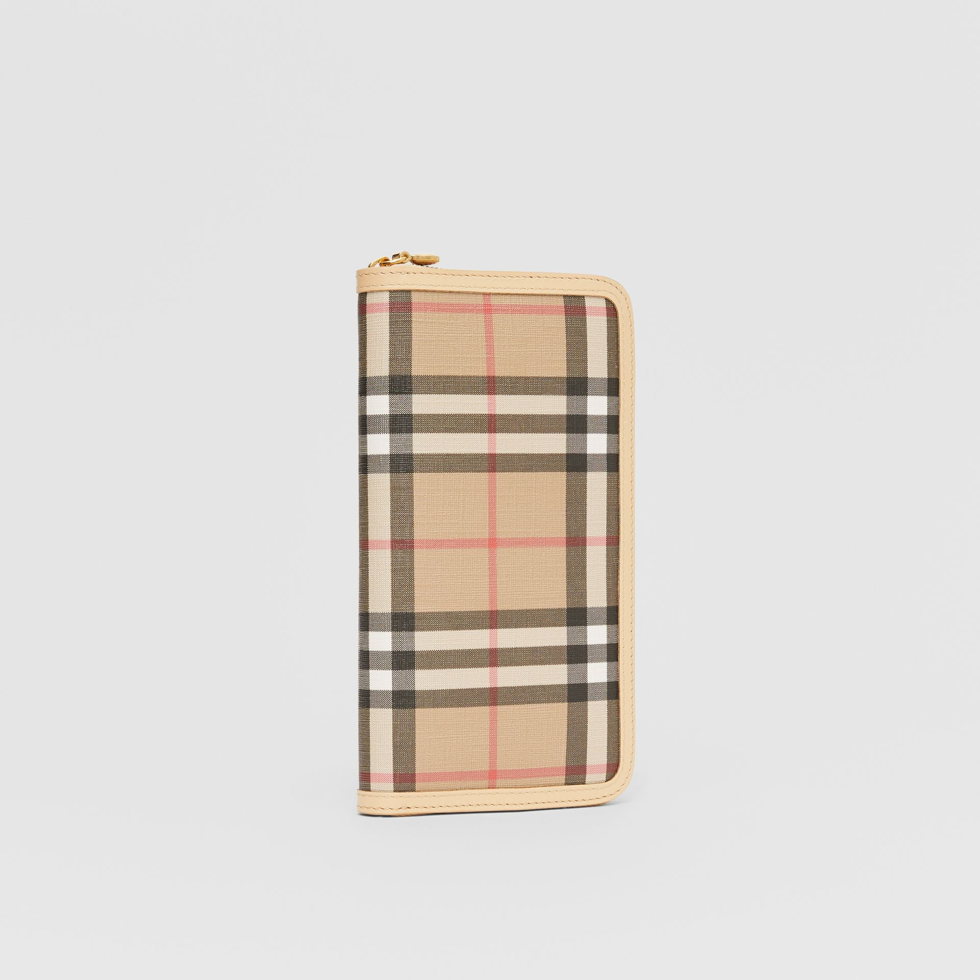 Vintage Check E-canvas and Leather Wallet in Beige - Women | Burberry Hong Kong S.A.R - gallery image 3