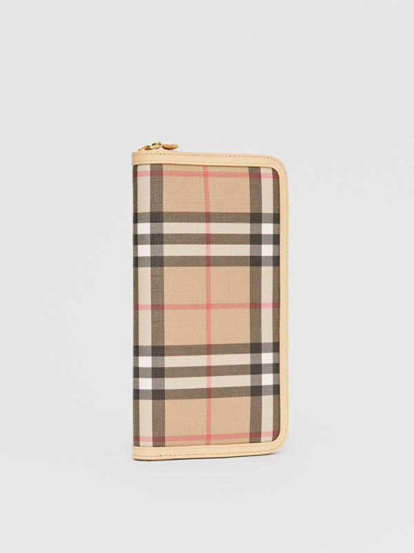 Vintage Check E-canvas and Leather Wallet in Beige - Women | Burberry Hong Kong S.A.R - cell image 3