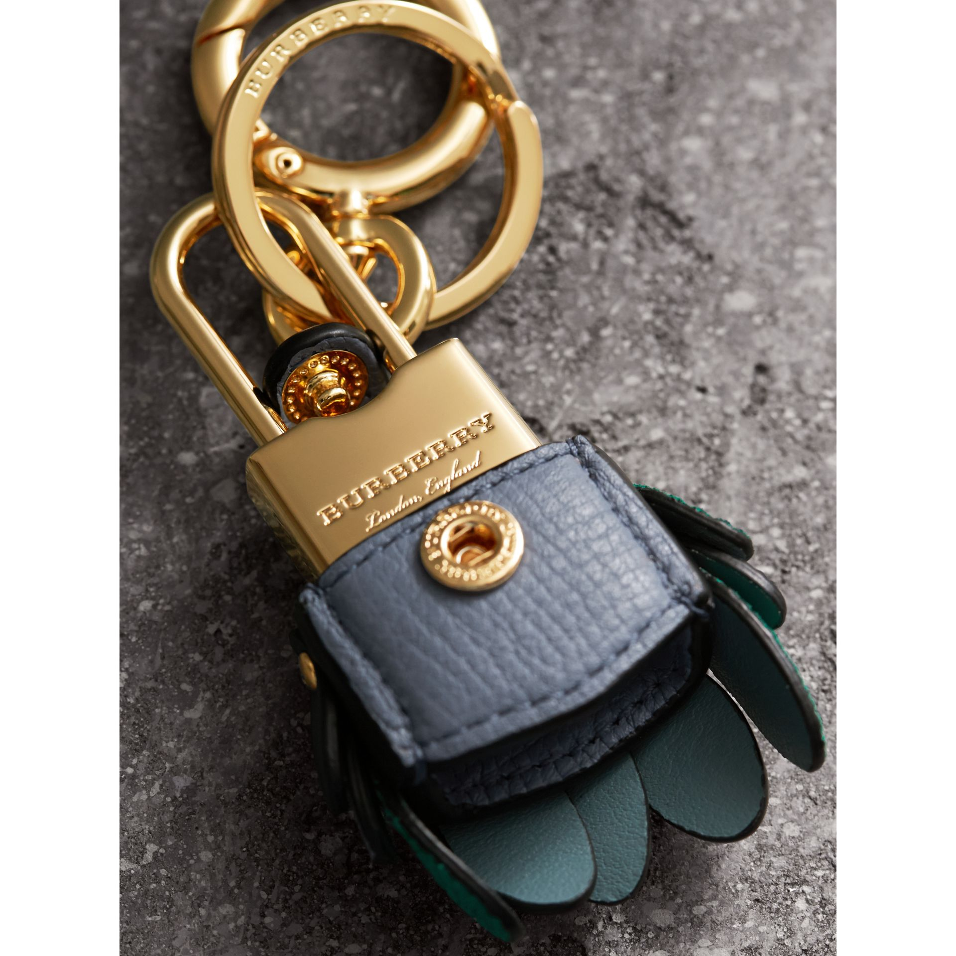 Beasts Leather Key Charm and Padlock in Teal Blue - Women | Burberry - gallery image 2