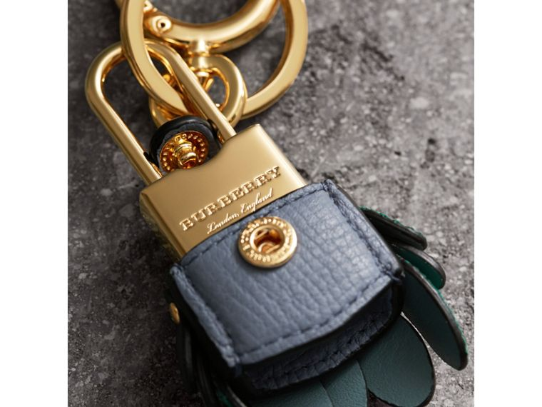 Beasts Leather Key Charm and Padlock in Teal Blue - Women | Burberry - cell image 1