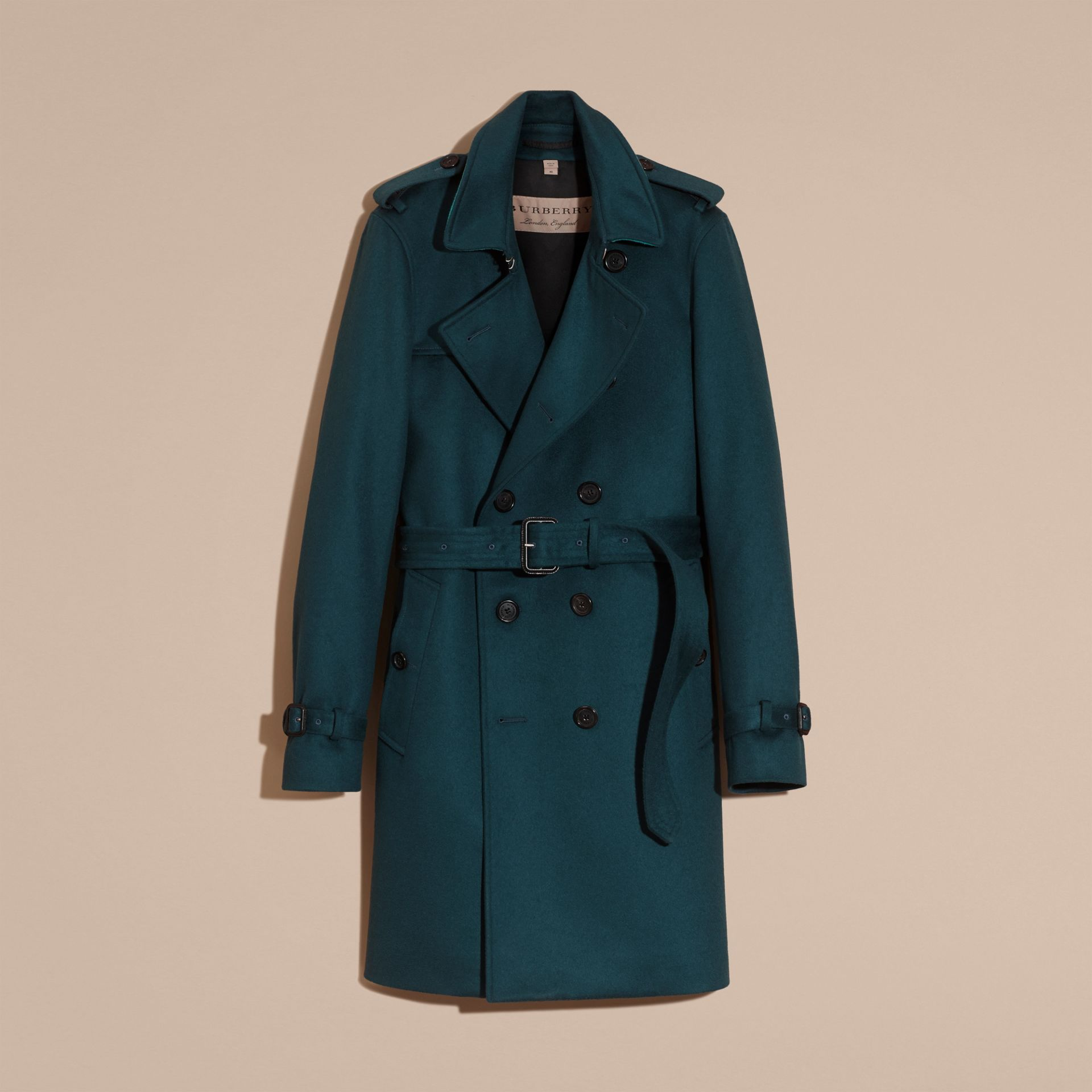 Cashmere Trench Coat Dark Mineral Blue - gallery image 4