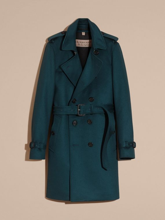 Blu minerale scuro Trench coat in cashmere Blu Minerale Scuro - cell image 3