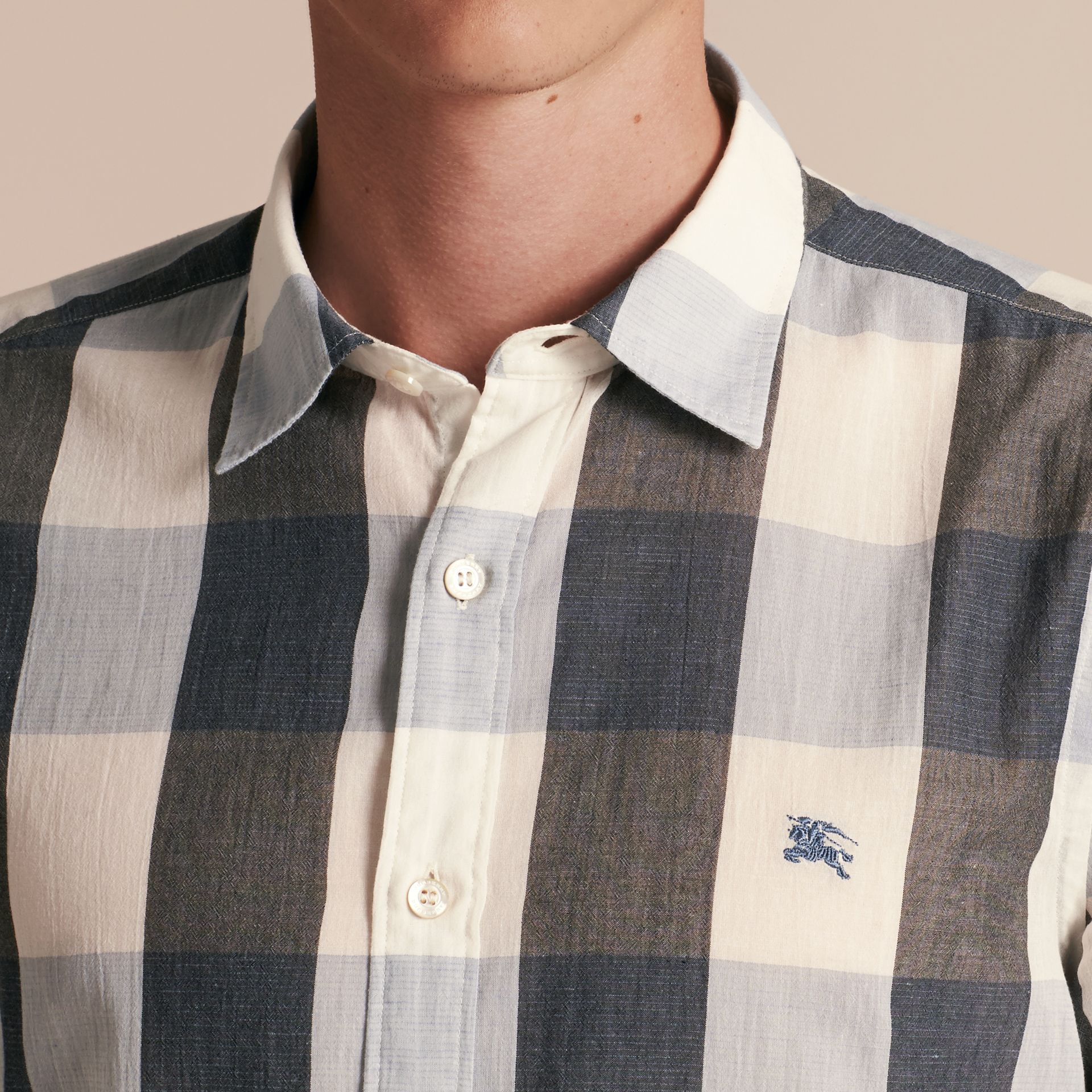 Short-sleeved Exploded Gingham Cotton Linen Shirt Pale Cornflower Blue - gallery image 5