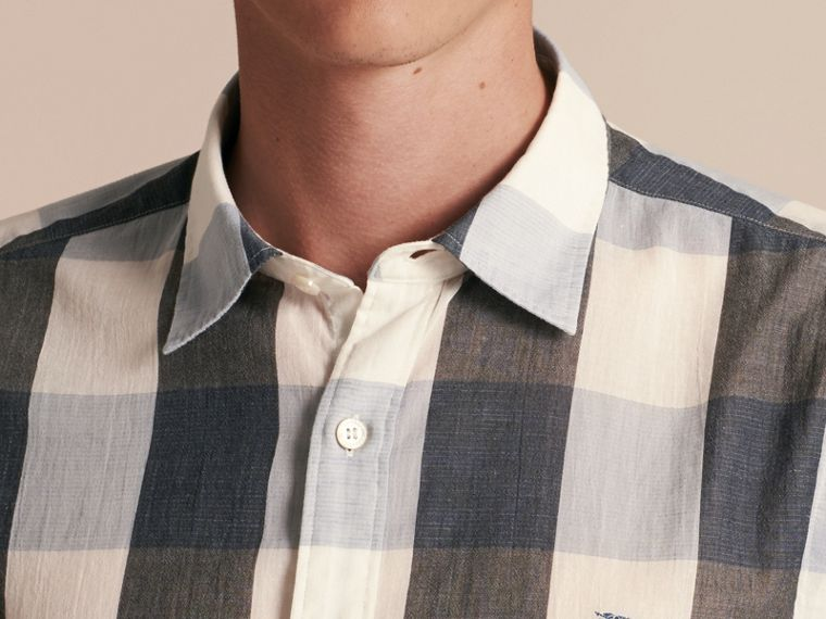 Short-sleeved Exploded Gingham Cotton Linen Shirt Pale Cornflower Blue - cell image 4