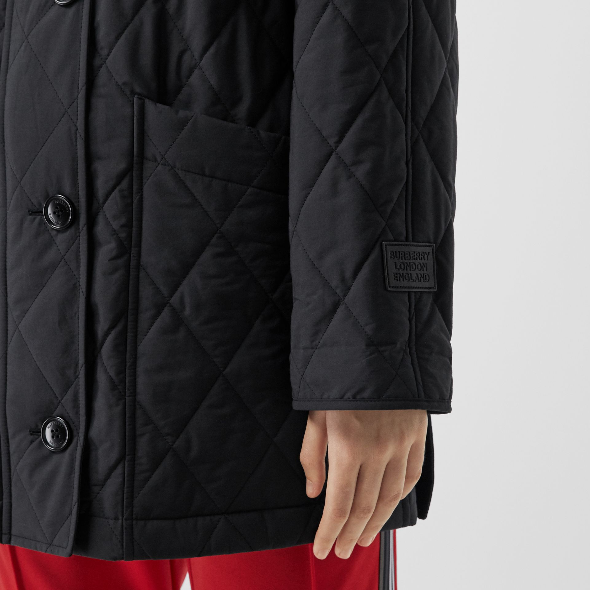 Diamond Quilted Cotton Blend Hooded Coat in Black - Women | Burberry - gallery image 4