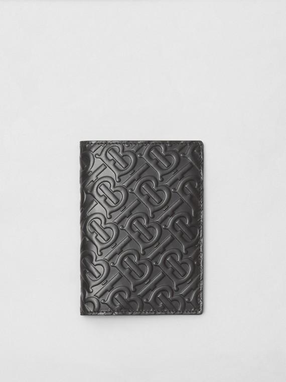 Monogram Leather Passport Holder in Black