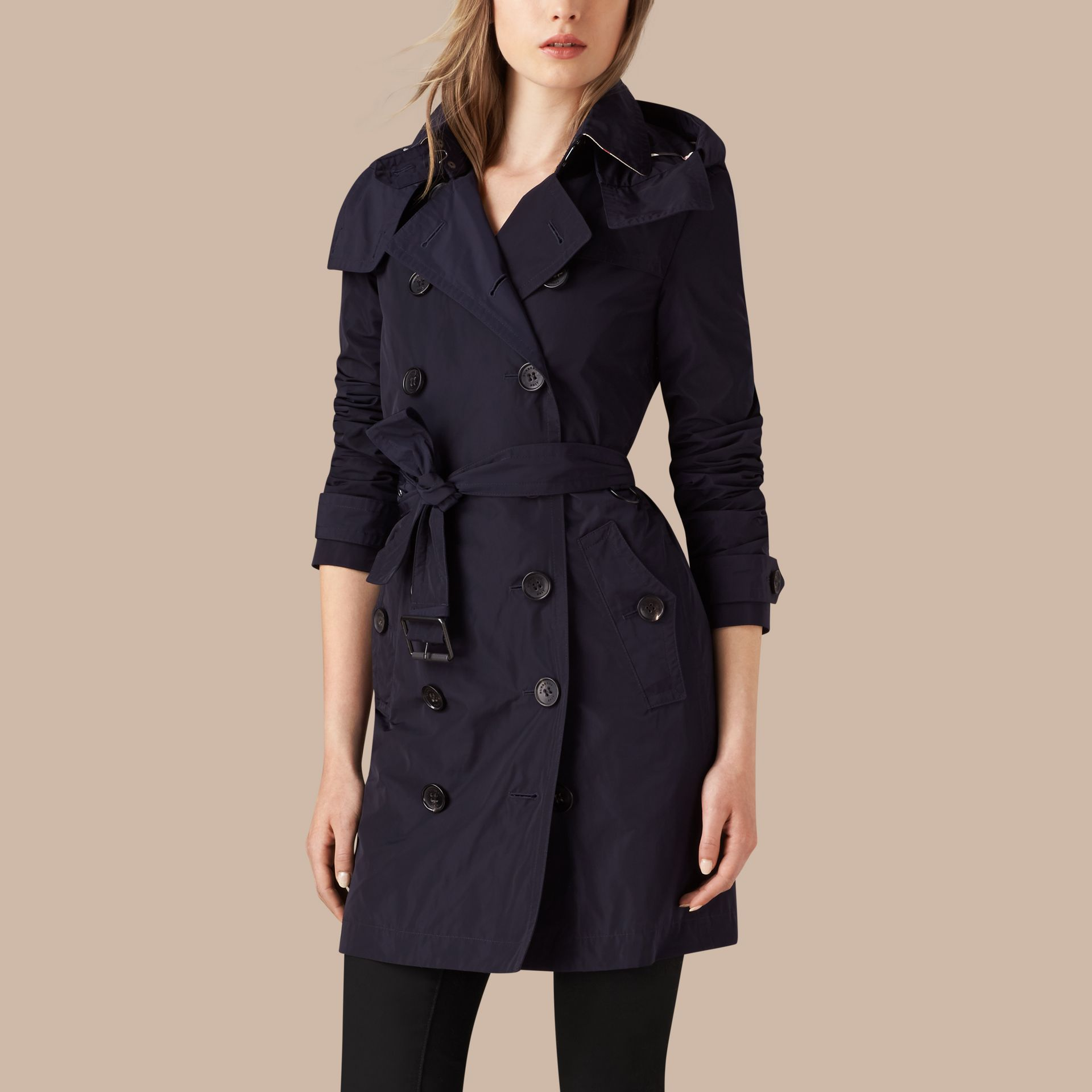 Navy Taffeta Trench Coat with Detachable Hood Navy - gallery image 4