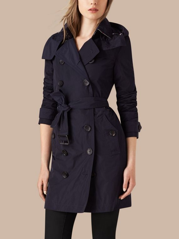 Taffeta Trench Coat with Detachable Hood in Navy - cell image 3