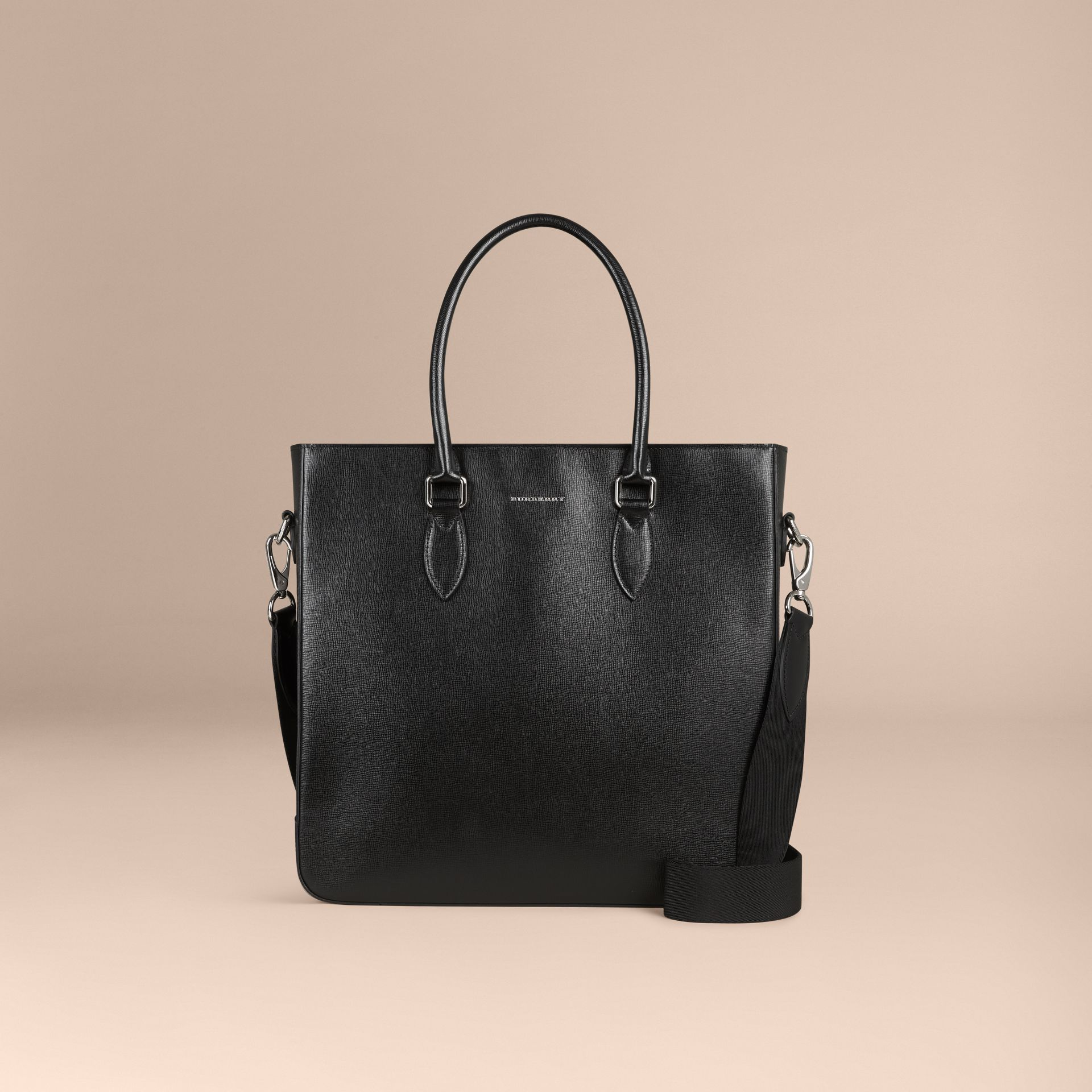 London Leather Tote Bag in Black - Men | Burberry - gallery image 8