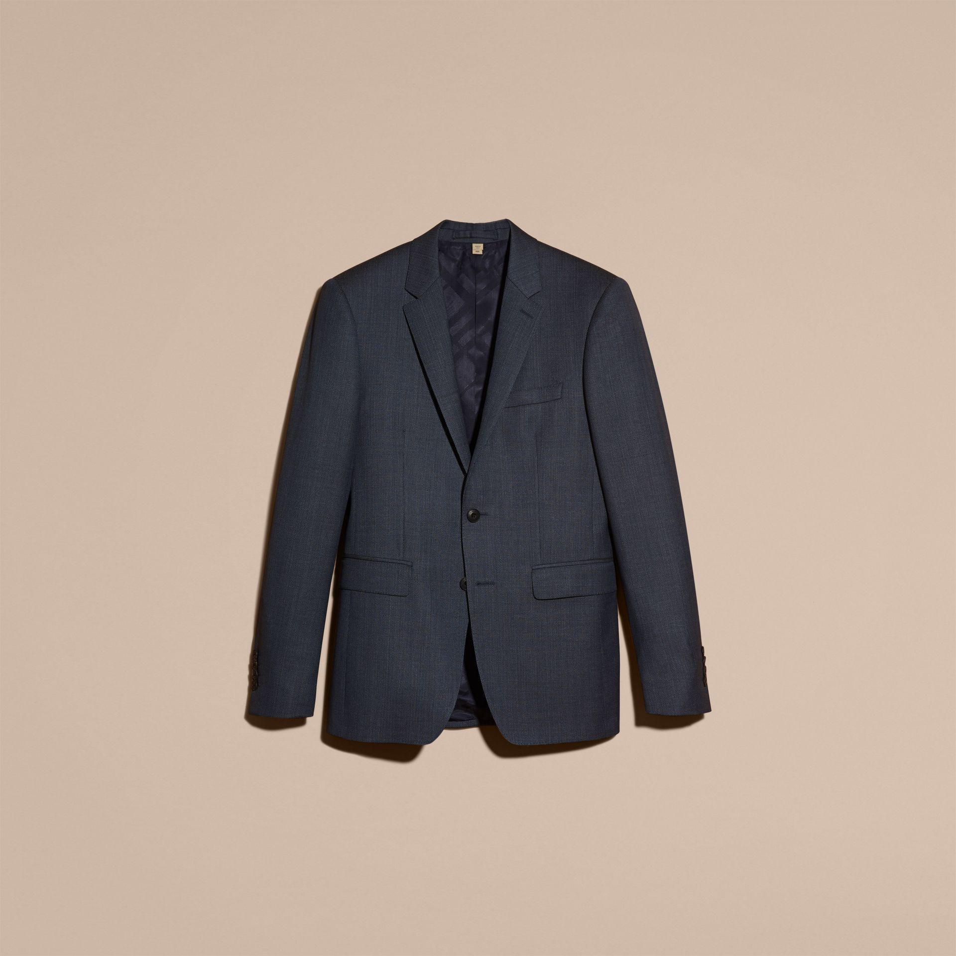 Steel blue Slim Fit Half-canvas Birdseye Wool Suit - gallery image 4