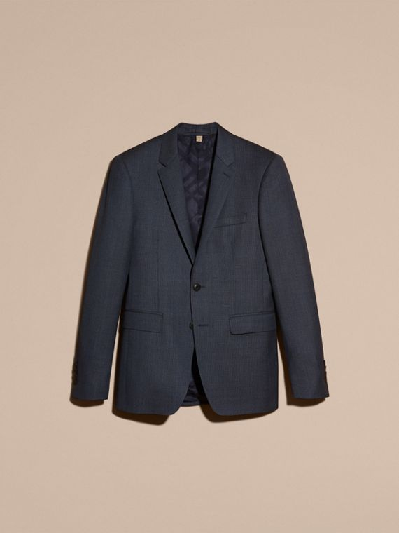 Steel blue Slim Fit Half-canvas Birdseye Wool Suit - cell image 3