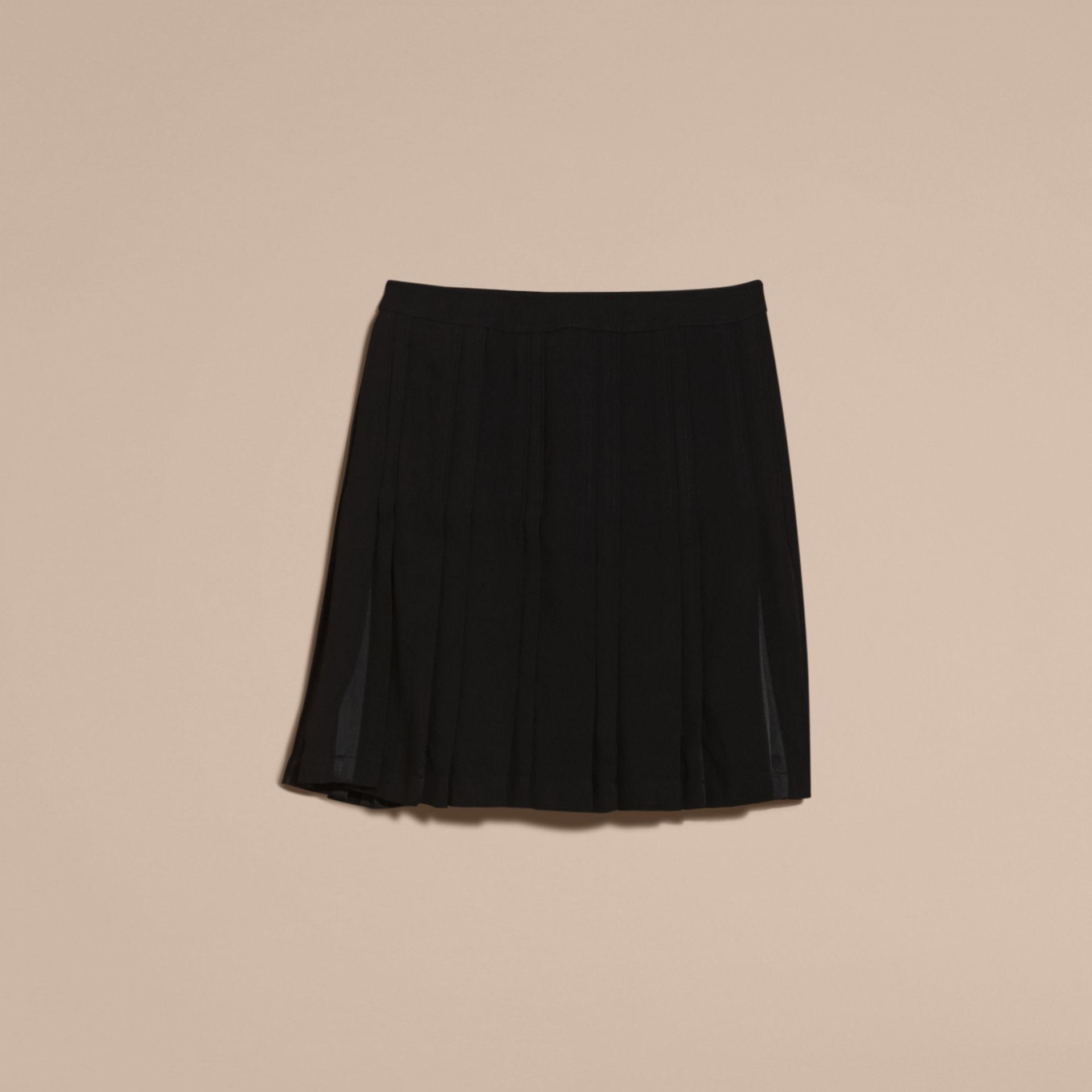 Black Two-tone Satin Pleated Skirt - gallery image 4