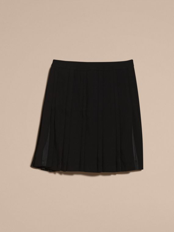 Black Two-tone Satin Pleated Skirt - cell image 3