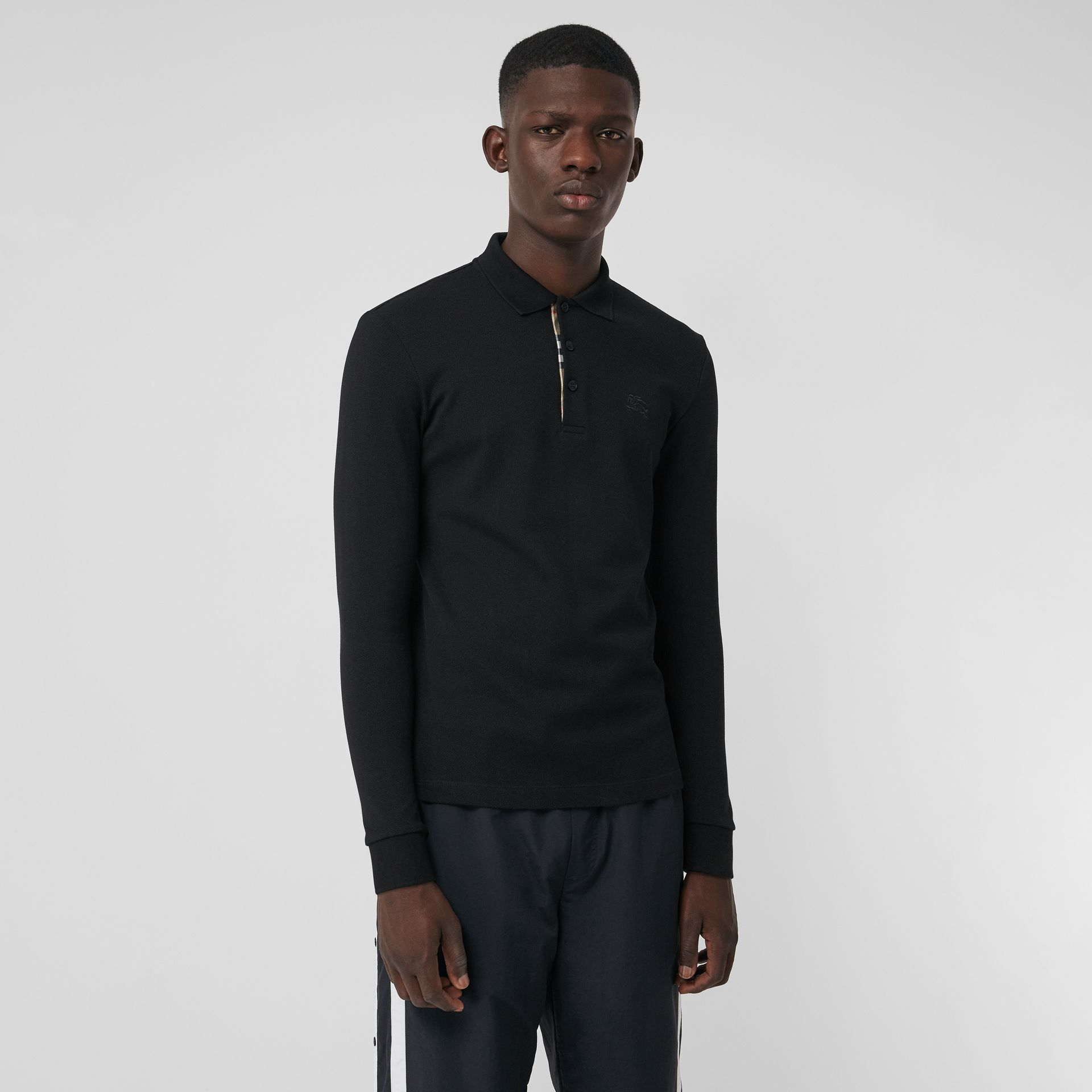 Long-sleeve Cotton Piqué Polo Shirt in Black - Men | Burberry - gallery image 4