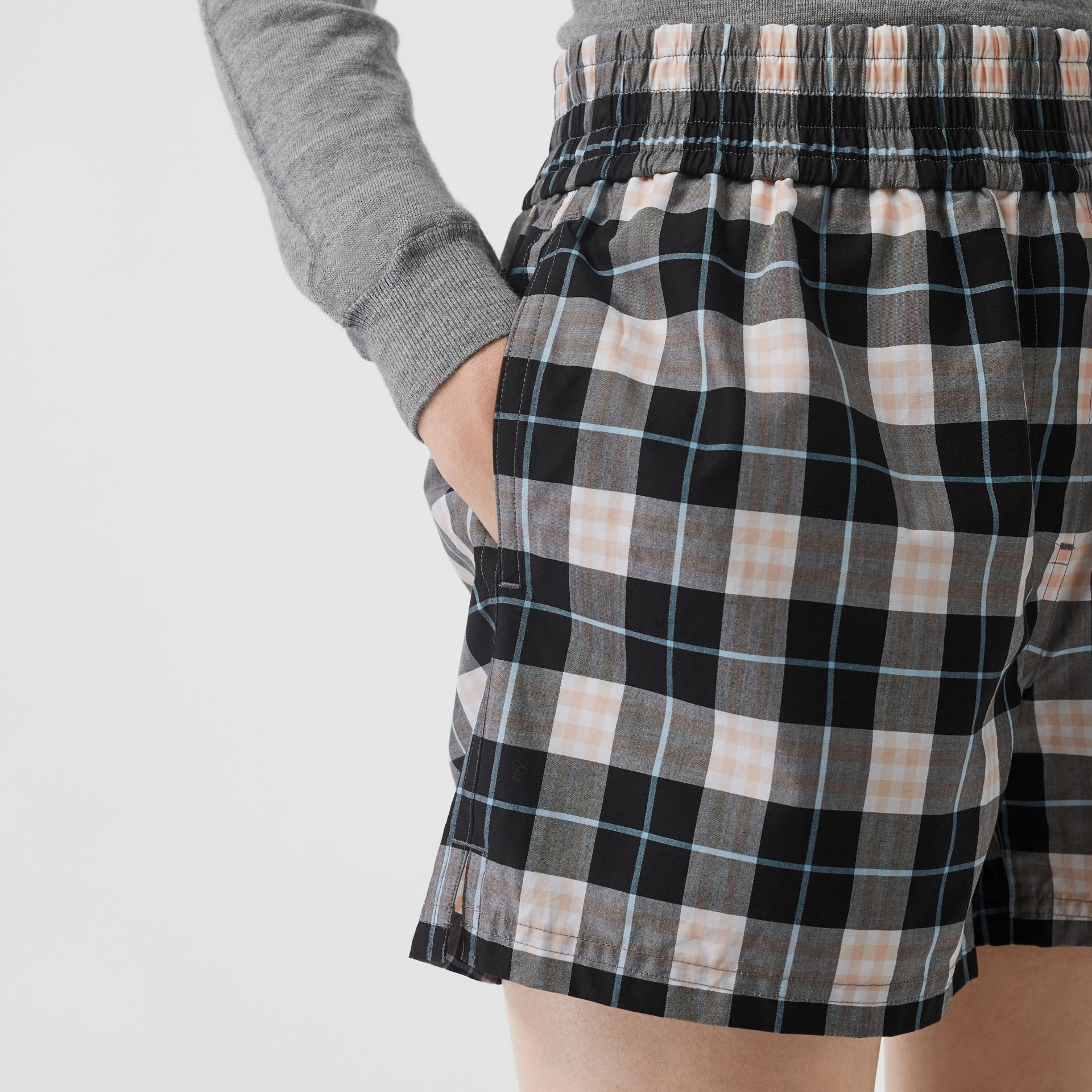 Check Cotton High-waisted Shorts in Pink Apricot - Women | Burberry - gallery image 1