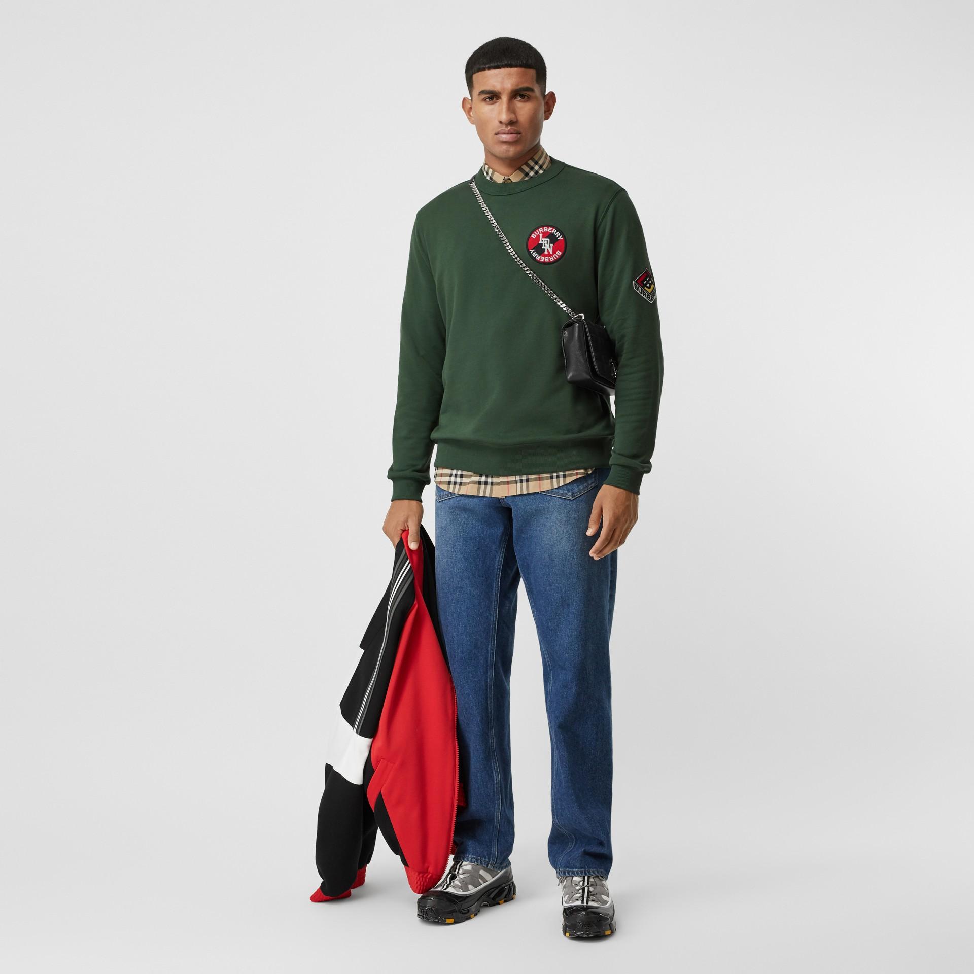 Logo Graphic Cotton Sweatshirt in Dark Pine Green - Men | Burberry - gallery image 5