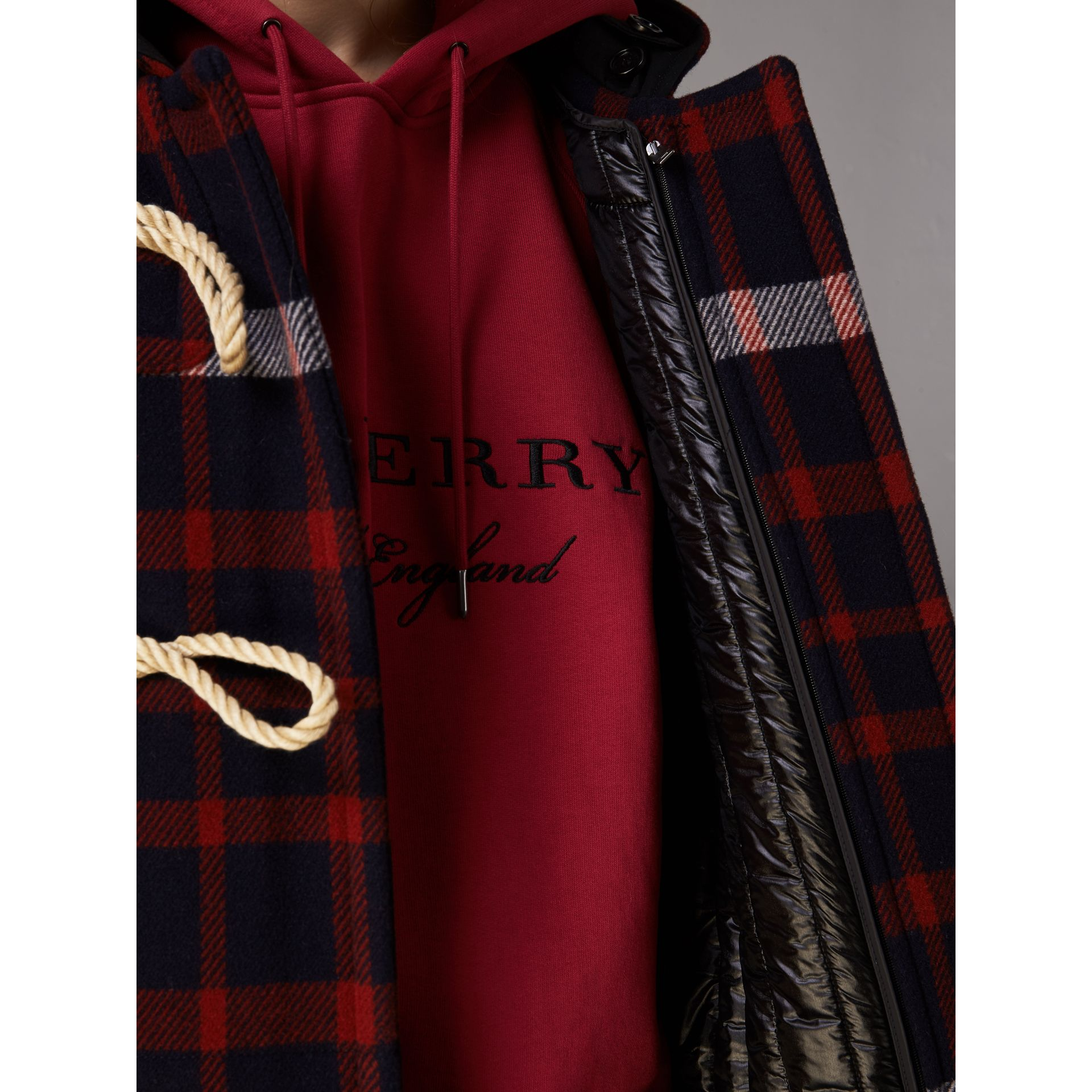 Check Wool Duffle Coat with Detachable Warmer in Navy/black - Women | Burberry Australia - gallery image 4