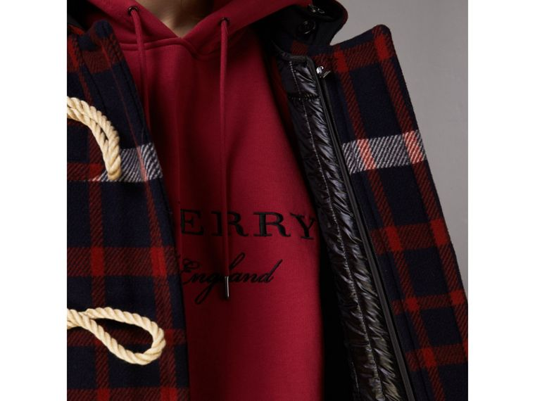 Check Wool Duffle Coat with Detachable Warmer in Navy/black - Women | Burberry - cell image 4