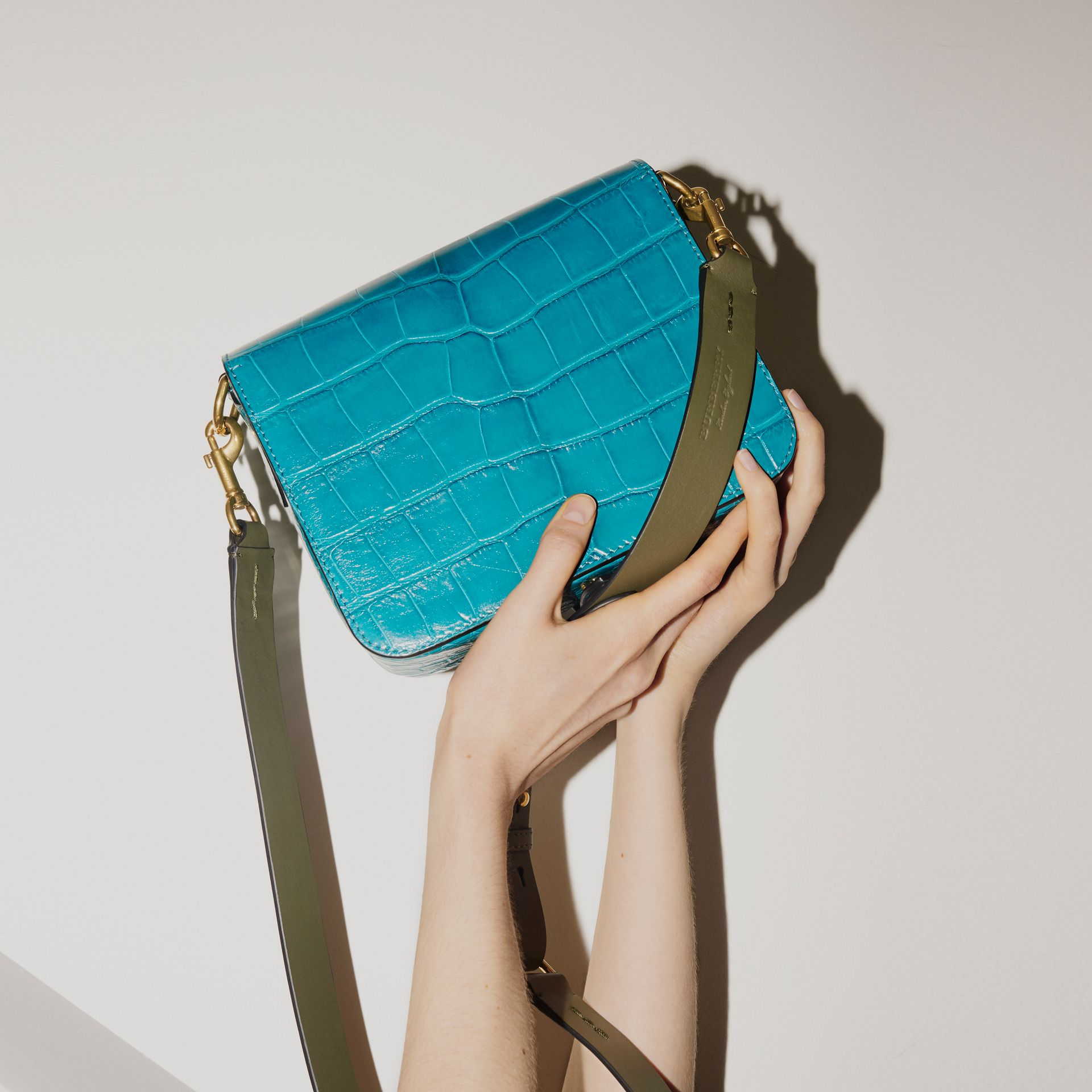 The Square Satchel in Alligator in Dark Teal - Women | Burberry United States - gallery image 2