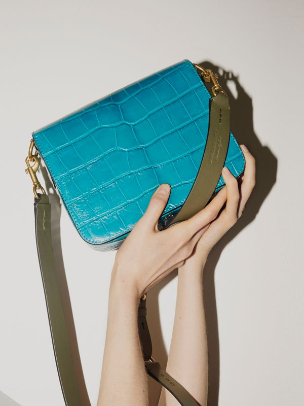 The Square Satchel in Alligator in Dark Teal - Women | Burberry - cell image 2