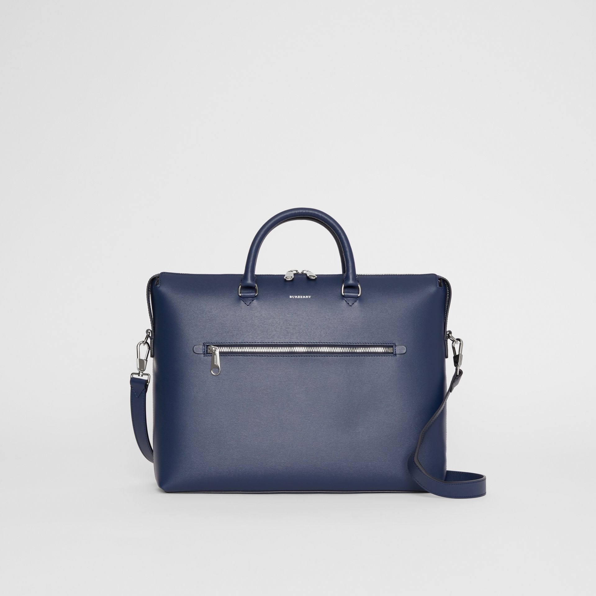 Large Textured Leather Briefcase in Navy - Men | Burberry United States - gallery image 0