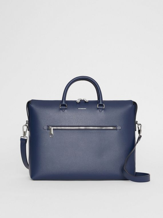 Large Textured Leather Briefcase in Navy