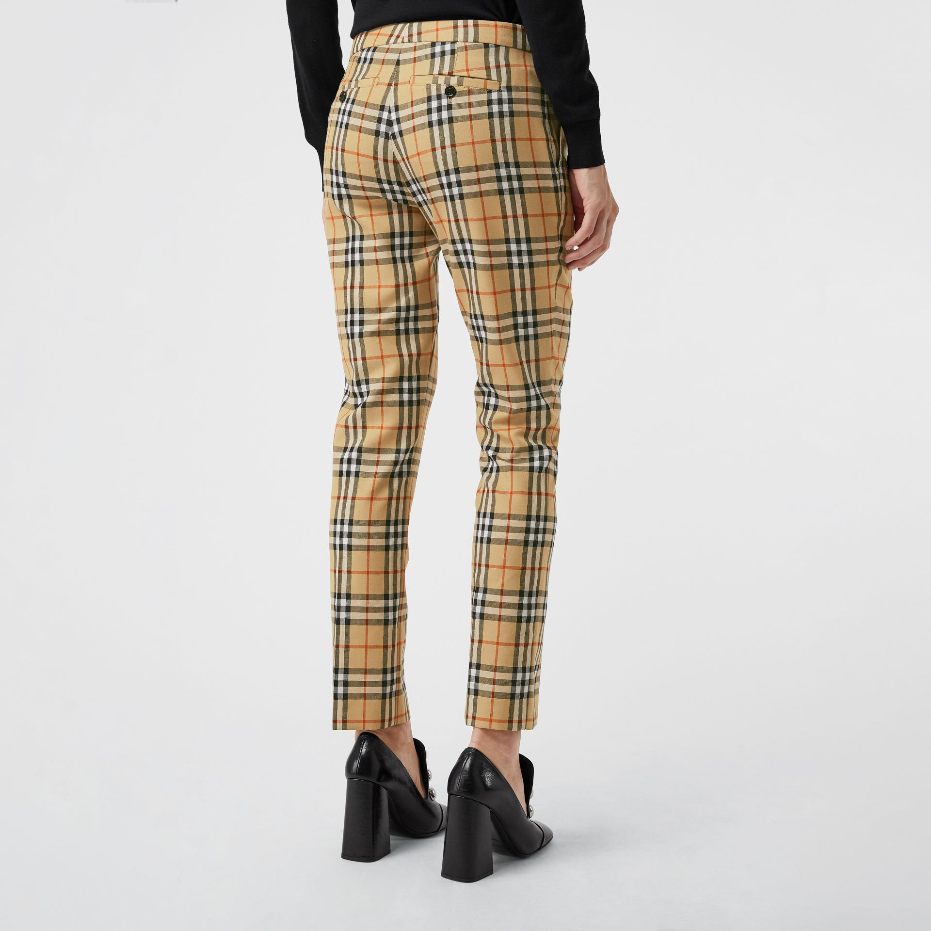 Vintage Check Wool Cigarette Trousers in Antique Yellow - Women | Burberry - gallery image 2