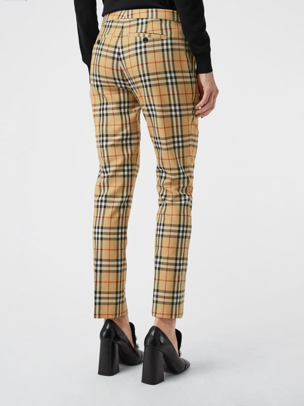 Vintage Check Wool Cigarette Trousers in Antique Yellow - Women | Burberry Hong Kong - cell image 2