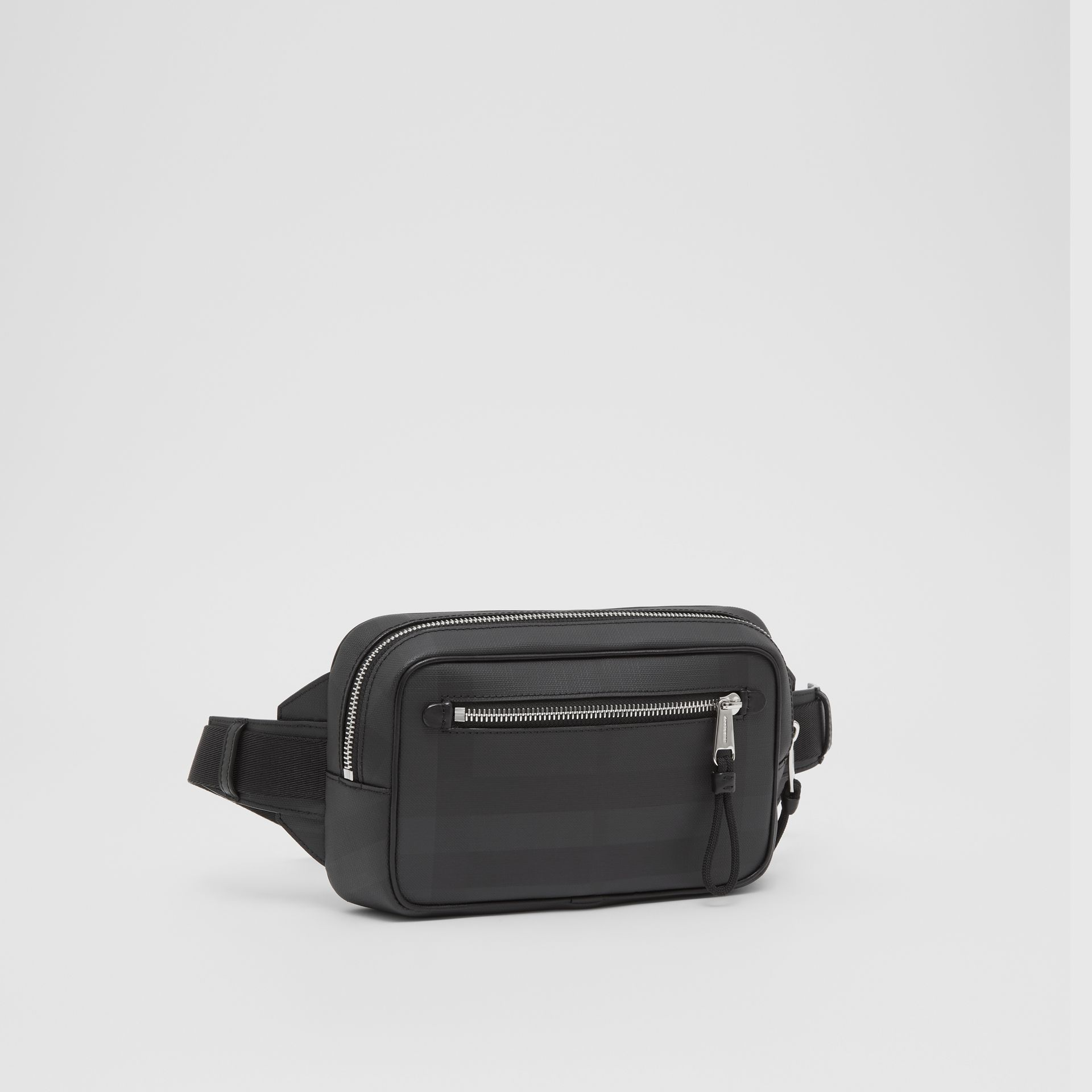 London Check and Leather Bum Bag in Dark Charcoal - Men | Burberry - gallery image 8