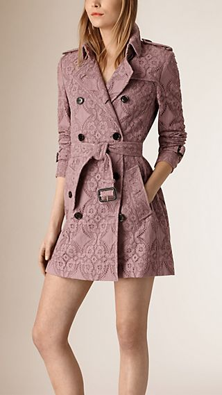 Trench-coat en dentelle de gabardine