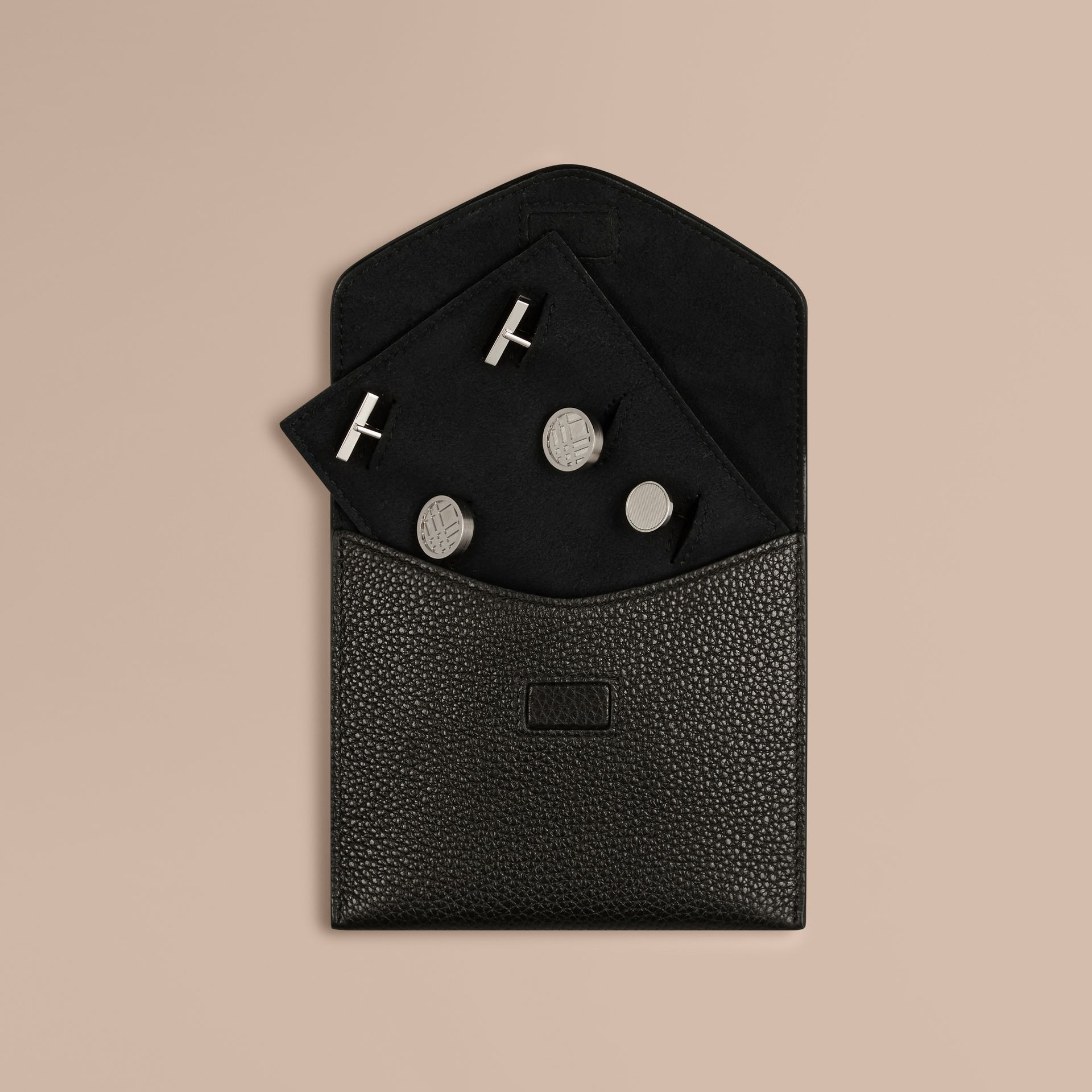 Grainy Leather Cufflink Case in Black - Men | Burberry - gallery image 1