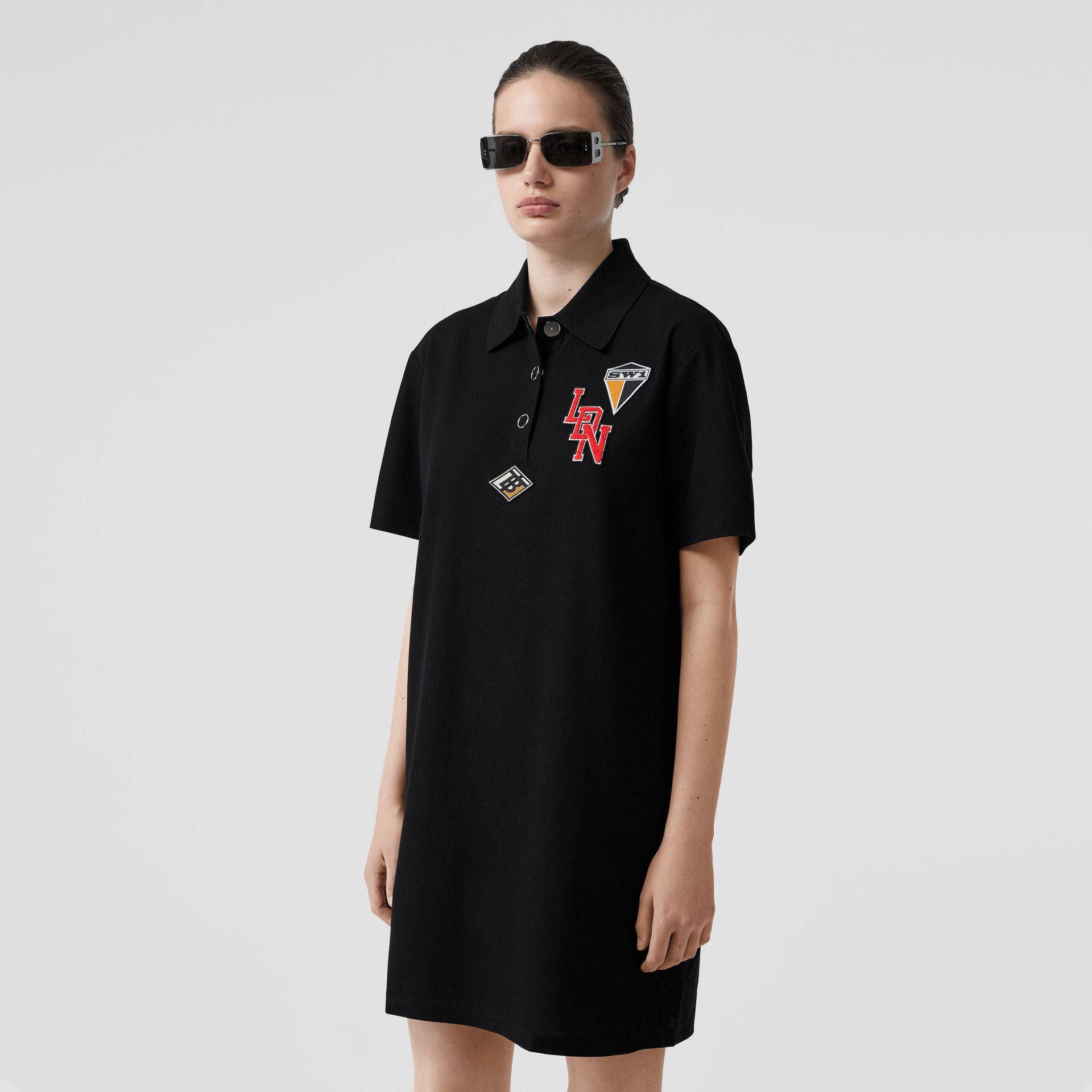 Logo Graphic Cotton Piqué Dress in Black - Women | Burberry - gallery image 4