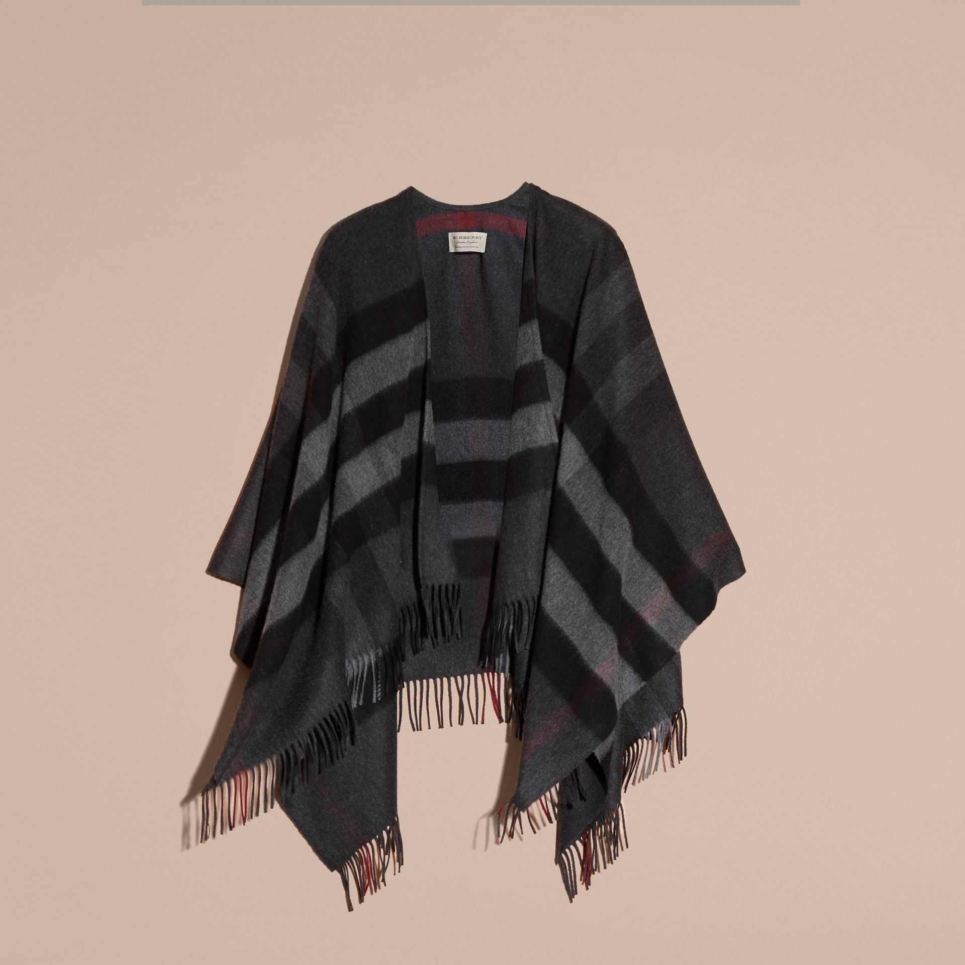Charcoal Check Cashmere and Wool Poncho Charcoal - gallery image 4