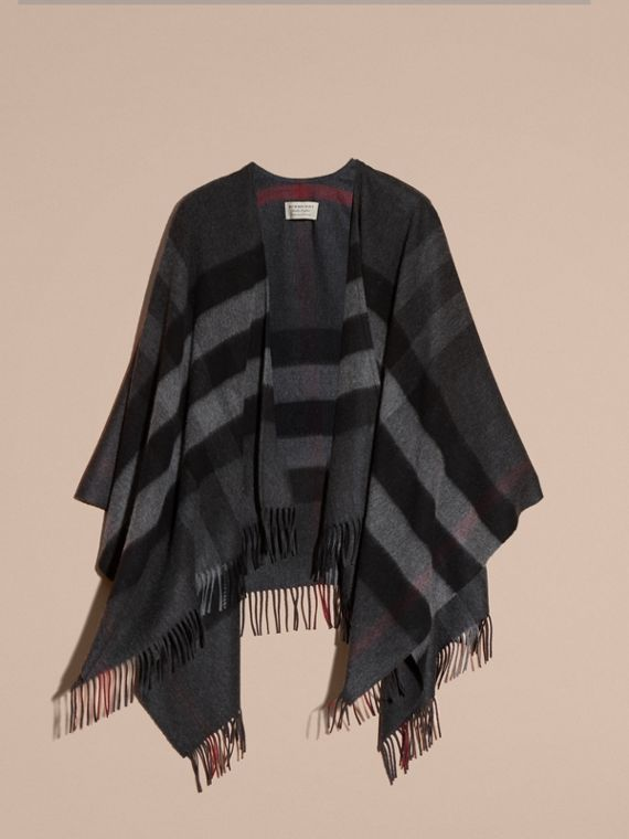 Charcoal Check Cashmere and Wool Poncho Charcoal - cell image 3