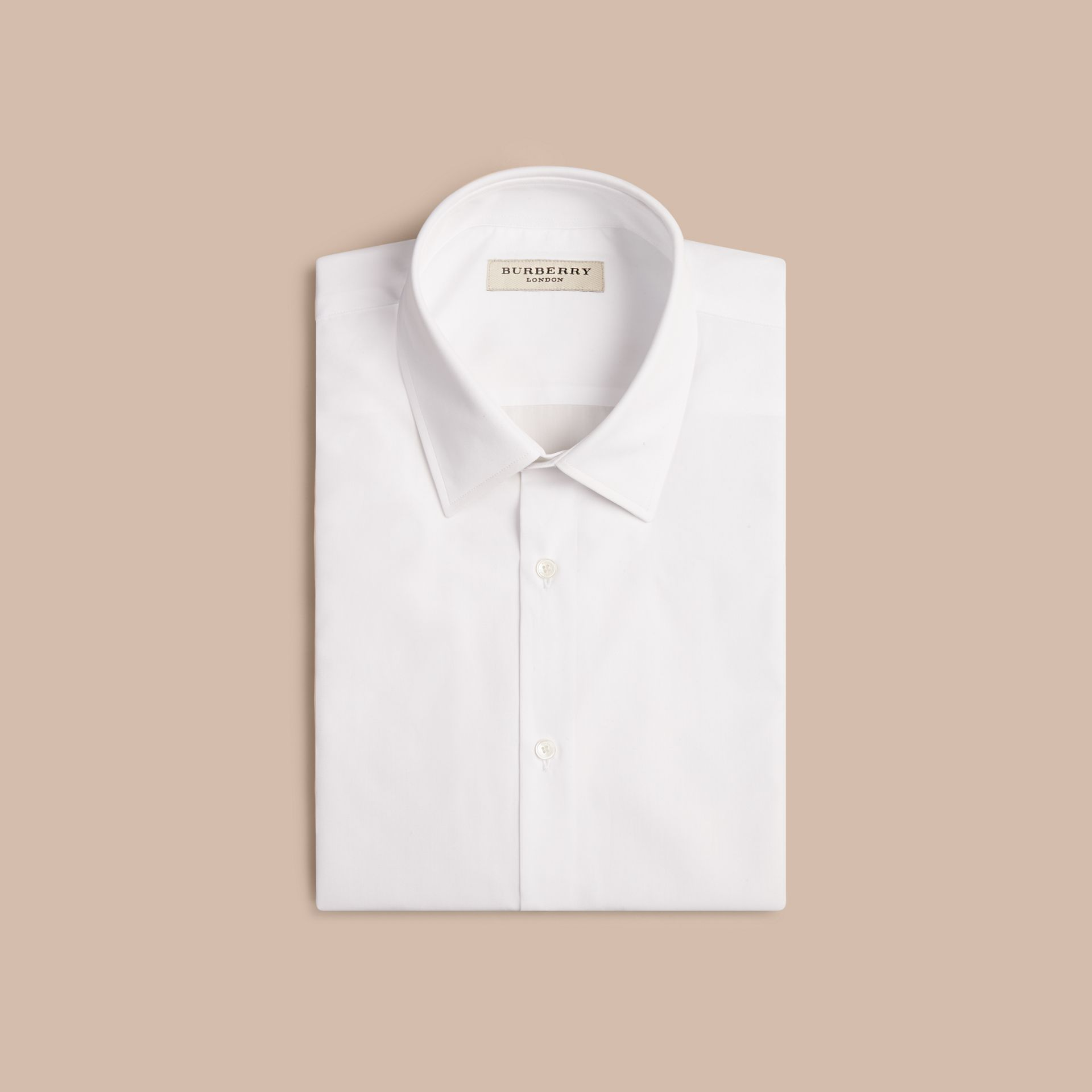 Modern Fit Short-sleeved Cotton Poplin Shirt in White - Men | Burberry - gallery image 4