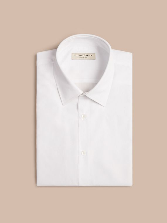 White Modern Fit Short-sleeved Cotton Poplin Shirt - cell image 3