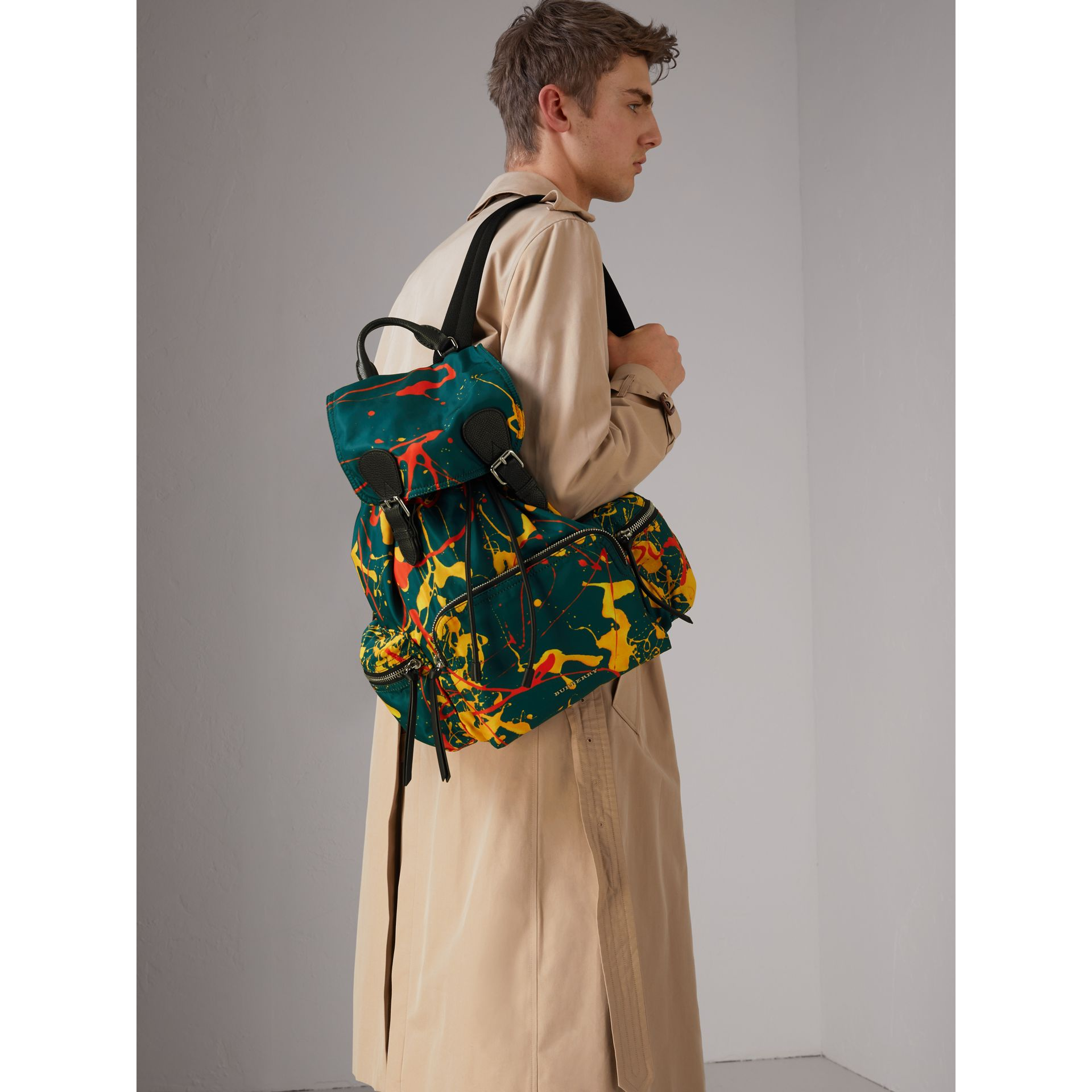 The Large Rucksack in Splash Print in Dark Teal - Men | Burberry Australia - gallery image 2