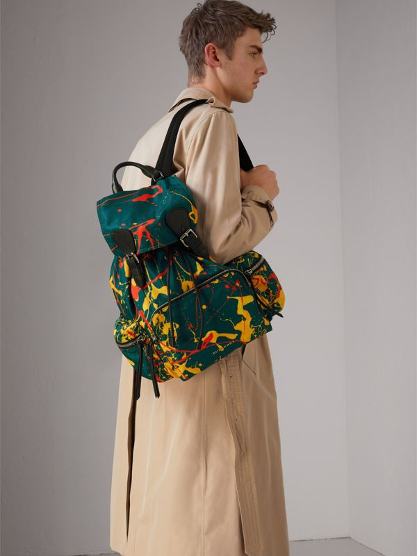 The Large Rucksack in Splash Print in Dark Teal - Men | Burberry - cell image 2