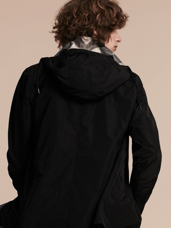 Showerproof Hooded Coat with Removable Warmer in Black - cell image 2