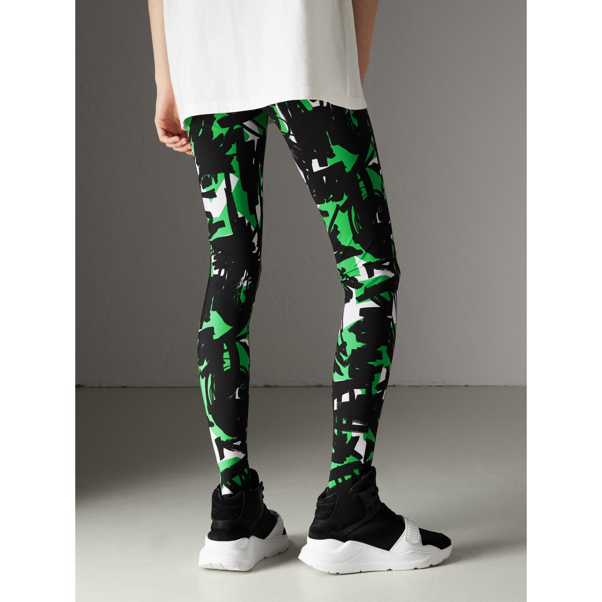 Graffiti Print Leggings in Neon Green - Women | Burberry - gallery image 2