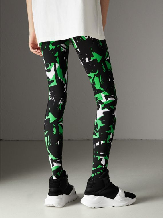 Graffiti Print Leggings in Neon Green - Women | Burberry - cell image 2