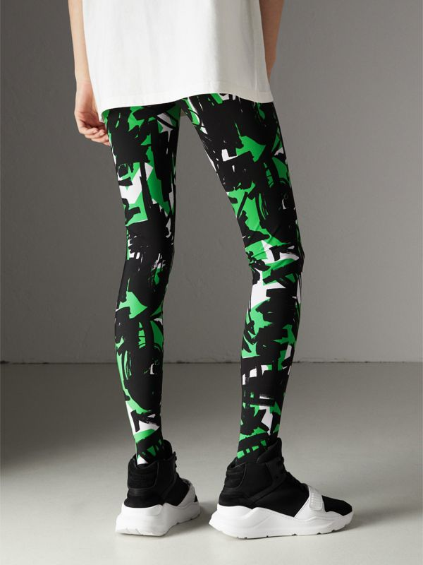 Graffiti Print Leggings in Neon Green - Women | Burberry United Kingdom - cell image 2