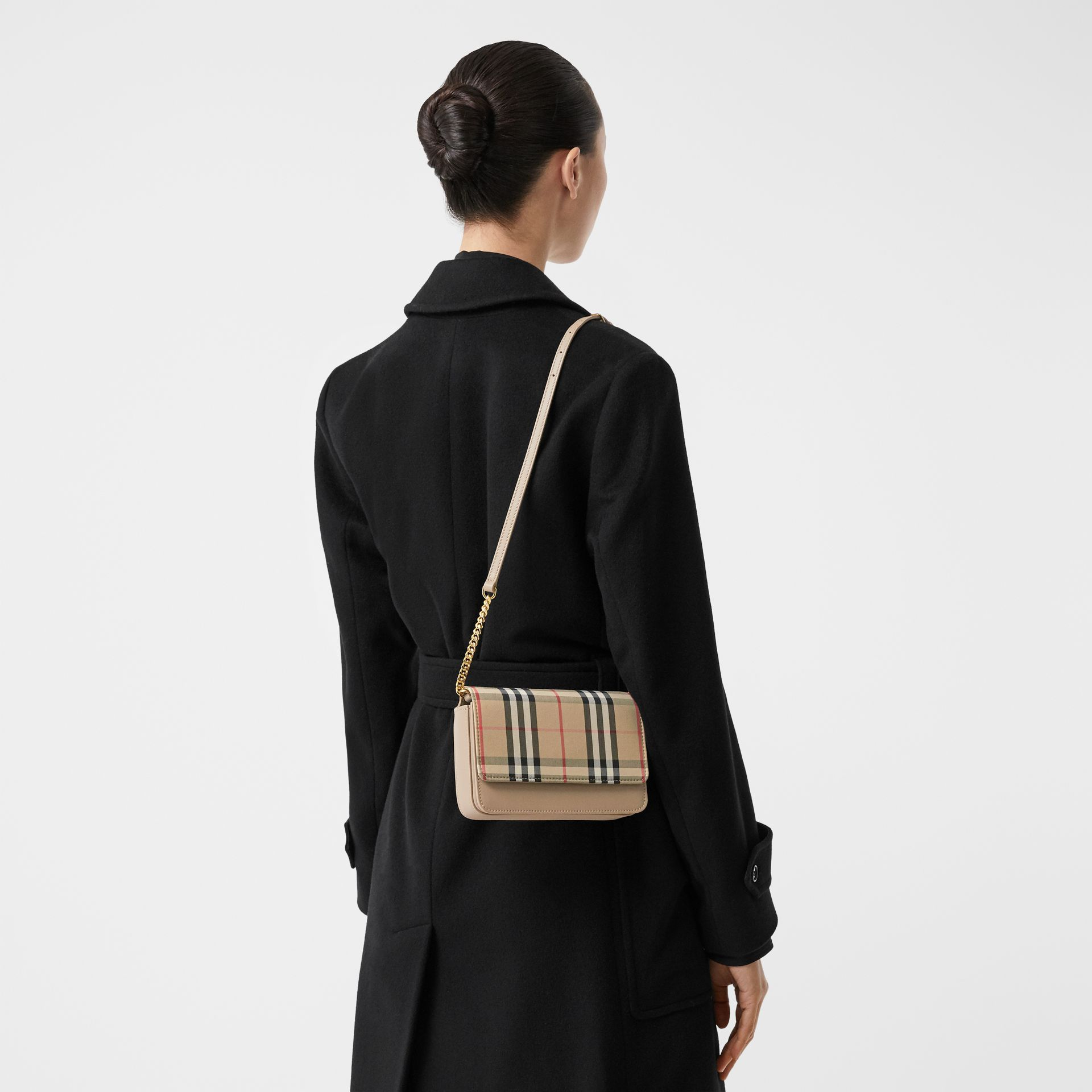 Vintage Check Canvas and Leather Bag in Honey - Women | Burberry - gallery image 2