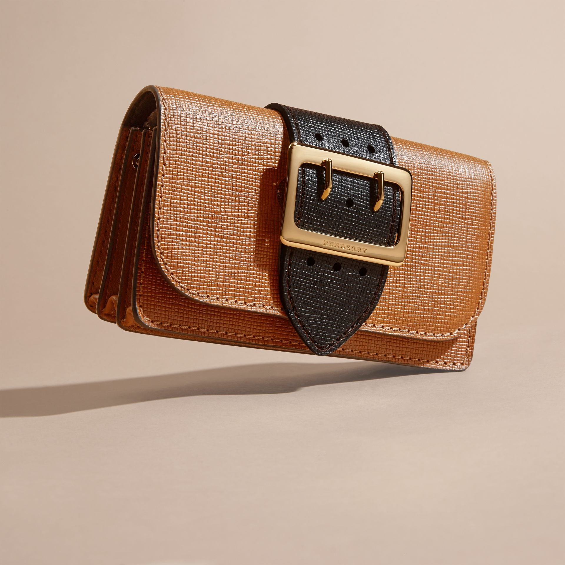 Tan / black The Small Buckle Bag in Grainy Leather - gallery image 8