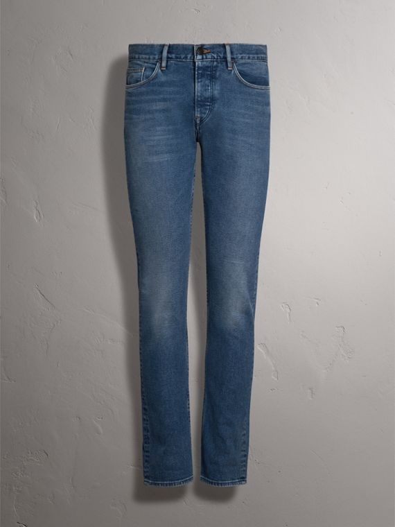 Straight Fit Stretch Japanese Denim Jeans in Mid Indigo - Men | Burberry Australia - cell image 3
